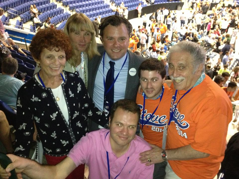 Mary Gail Cokkinias, Candy Glazer, Lt. Governor Candidate Steve Kerrigan, State Senate Candidate Eric Lesser, Michael Clark, and Saul Finestone attend the 2013 Convention in Lowell.