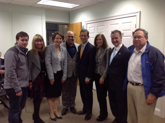 State Committee members Michael Clark and Candy Glazer can be seen with Attorney General Maura Healey, Anthony Soto (D-Holyoke), Fmr. Treasurer Steve Grossman, Treasurer Deborah Goldberg, Rep. Brian Ashe (D-Longmeadow), and Chicopee Democratic City Committee Chairman Michael Pise
