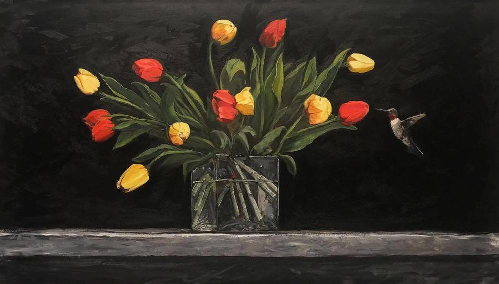 """Tulips and Hummingbird"" by John Beard, 48x24 oil on canvas"