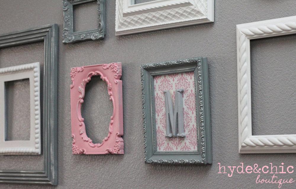 baby girl nursery monogram frame gallery wall shabby chic rh hydeandchicboutique com  shabby chic white frame set