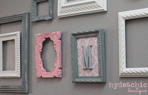 Wall Picture Frame Set baby girl nursery / monogram frame / gallery wall / shabby chic