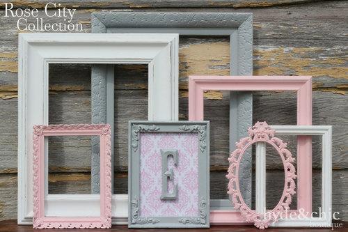 Baby Girl Nursery Monogram Frame Gallery Wall Shabby Chic