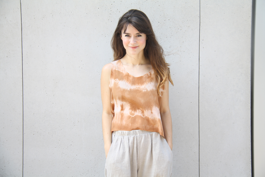 Wearing a handmade silk tank, dyed using cutch