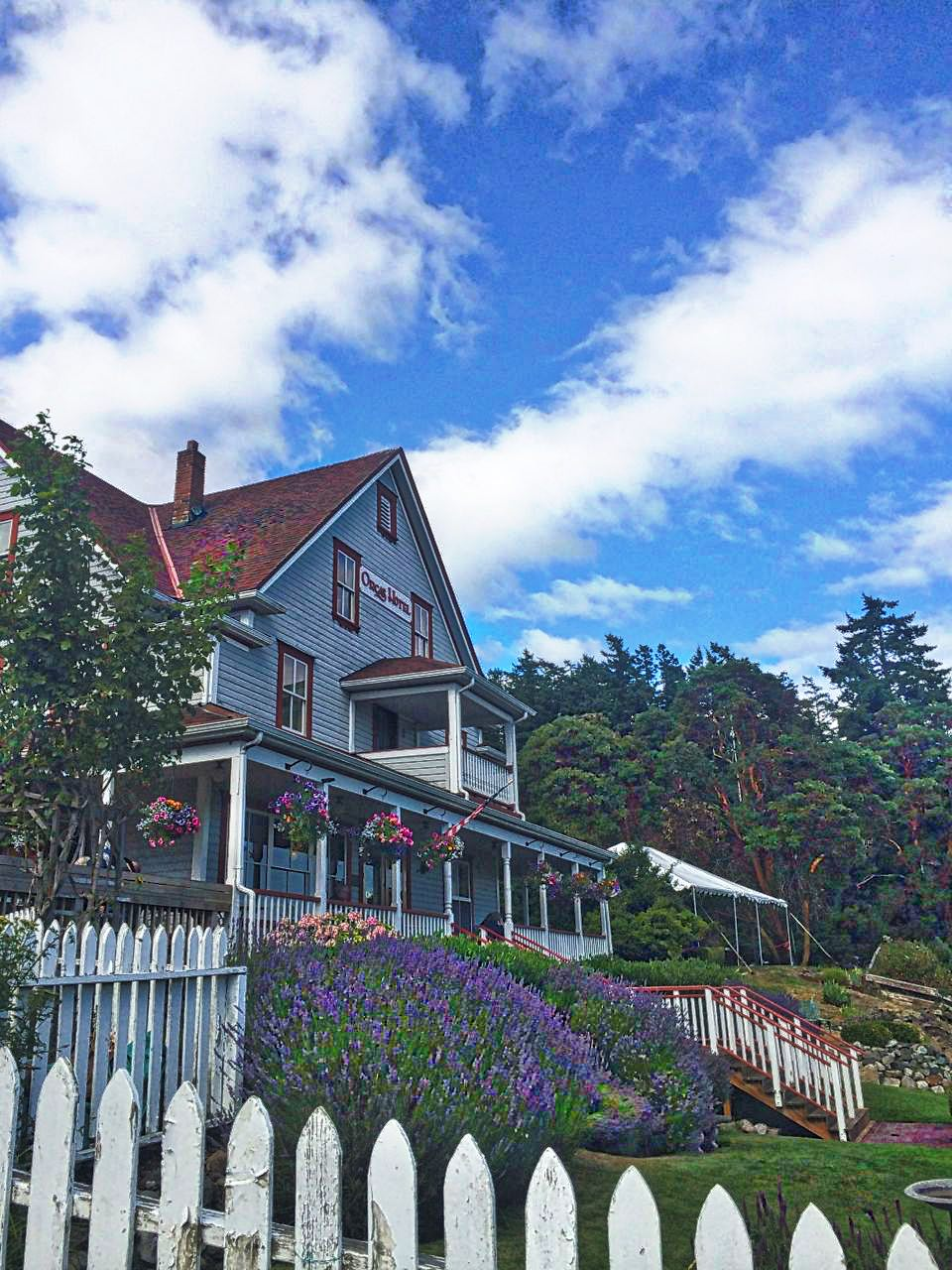 The Historic Orcas Hotel is just below ferry parking and offers great food and coffee selections
