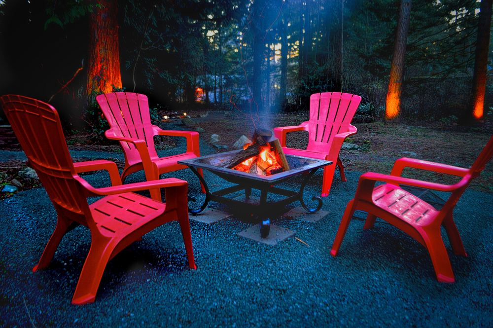 Wood-burning fire pit is a favorite gathering area for conversation and making S'mores.
