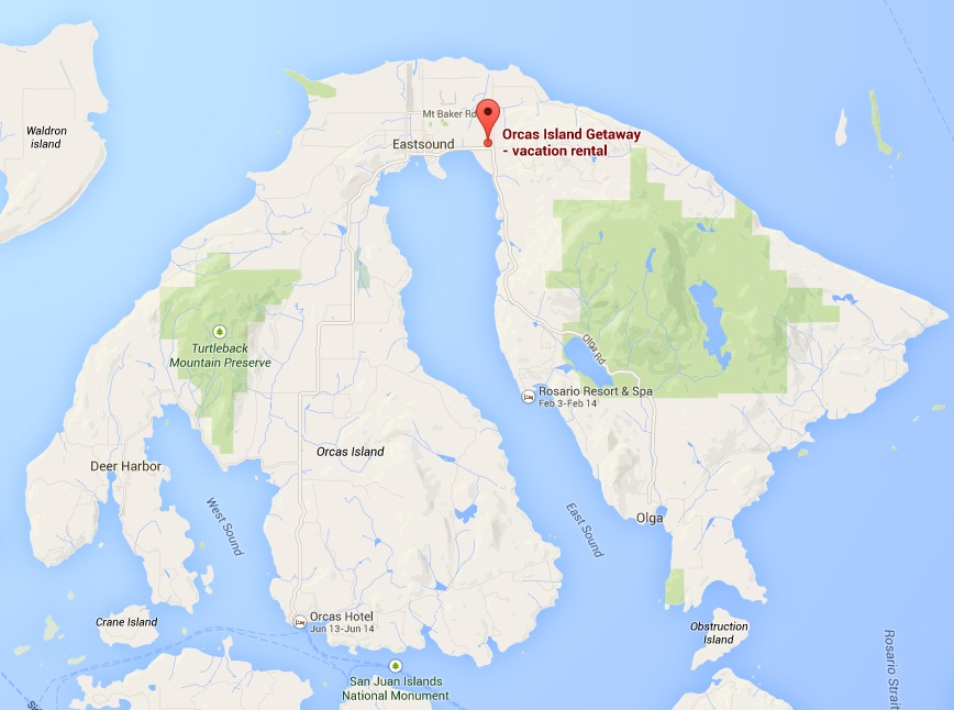 Google Map of Orcas Island Getaway vacation rental
