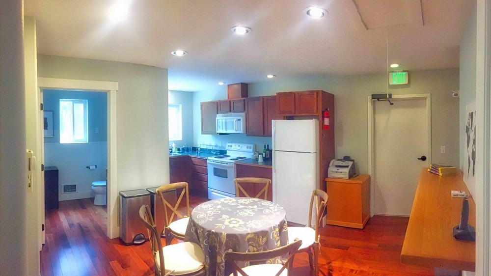 While 376 is situated a short walk to several restaurants, the full kitchen upstairs allows storage, dining area and food prep for those who bring their own food and drinks.