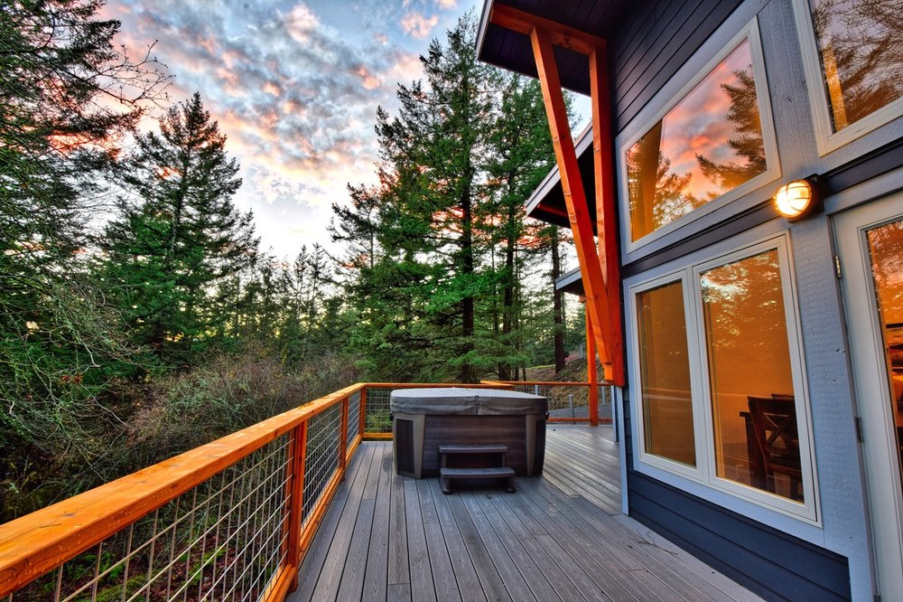 Enjoy the hot tub from the main living deck area