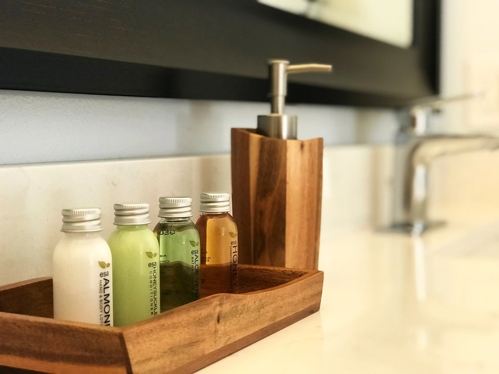 We provide a complimentary travel set of bathroom products by esa (shampoo, conditioner, body wash and body lotion) in both the Master and Guest bathrooms for your convenience.