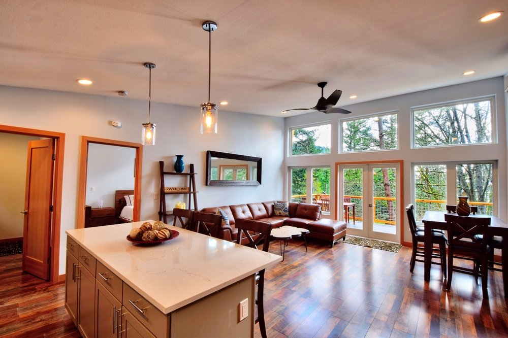 Large open floor plan allows for conversation in the main living space.