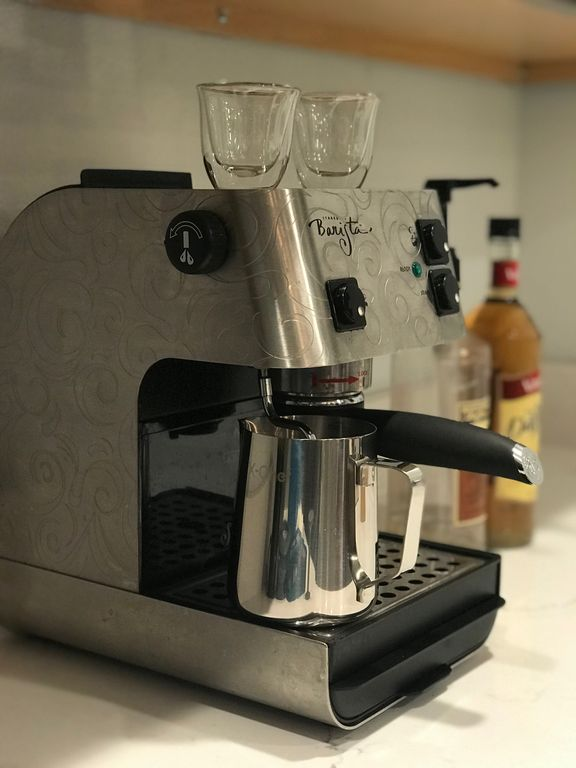 Starbucks Barista espresso machine for the coffee lovers. Don't worry, we have a traditional drip coffee machine and teapot as well.