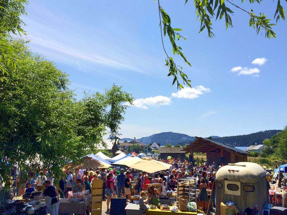 Farmers Market at Village Green in Eastsound following the 2014 Summer Solstice Parade (click to enlarge)
