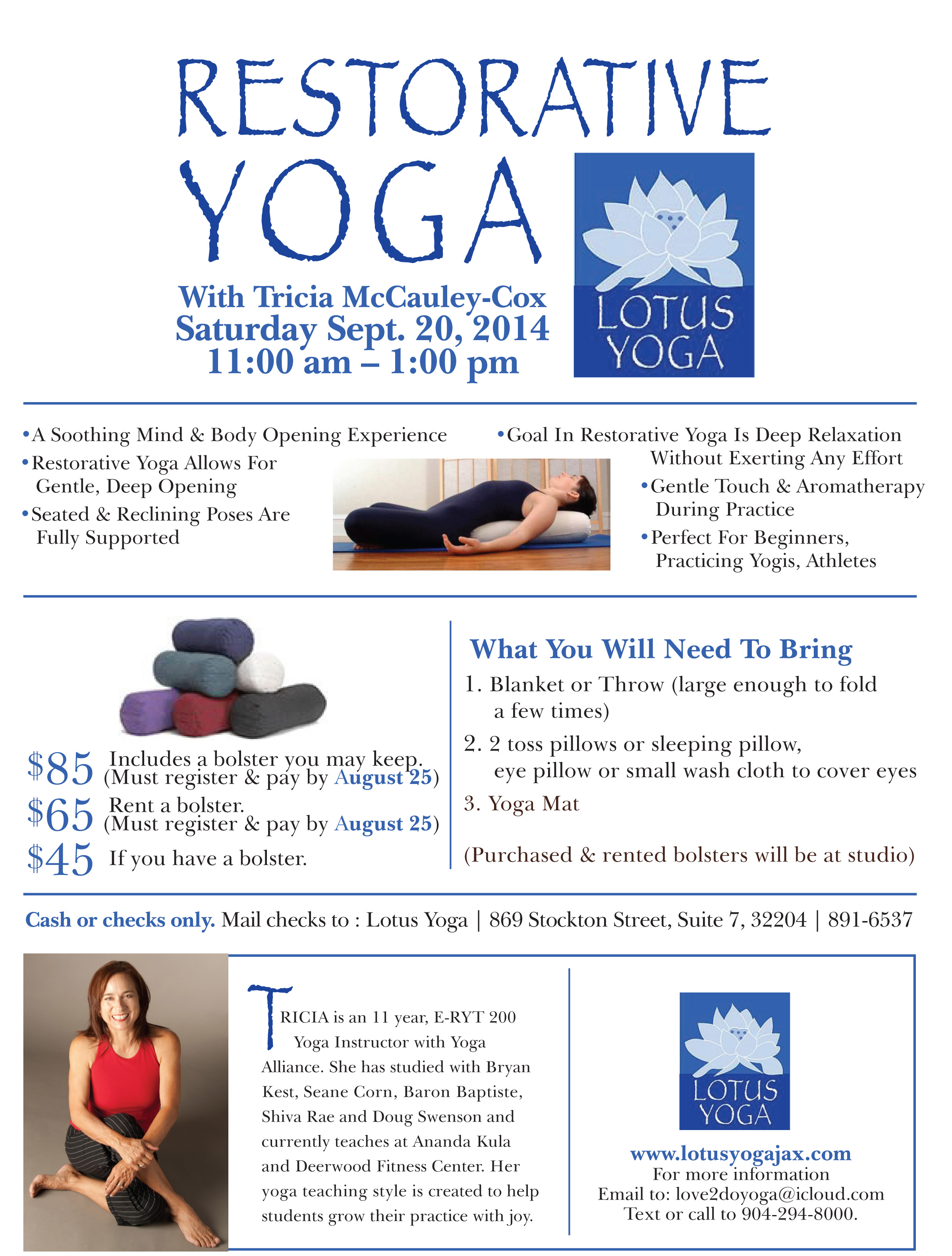 Restorative Yoga Workshop With Tricia McCauley Cox