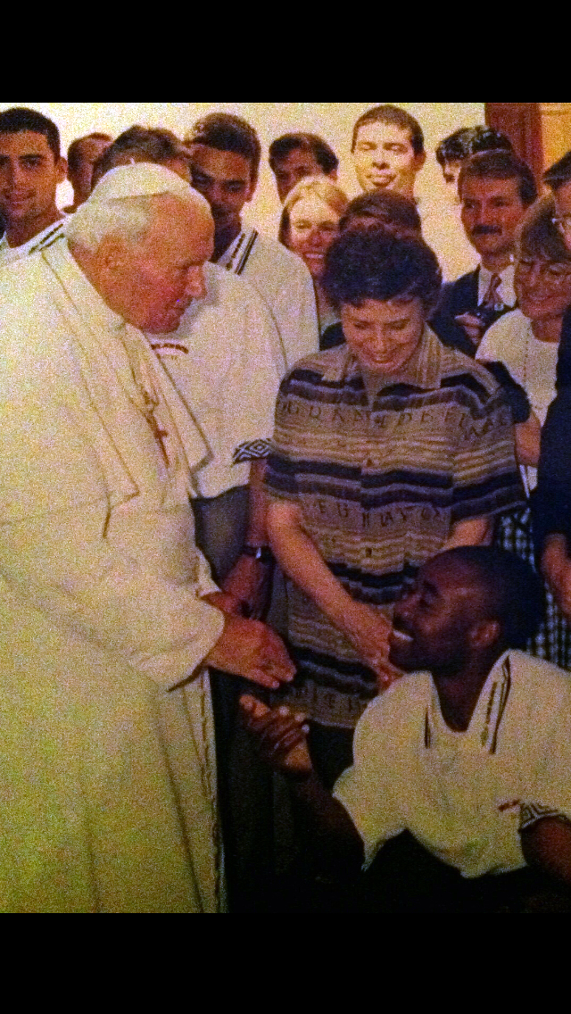 Pope Saint John Paul II blessing Co-founder Keke for all his Sins.