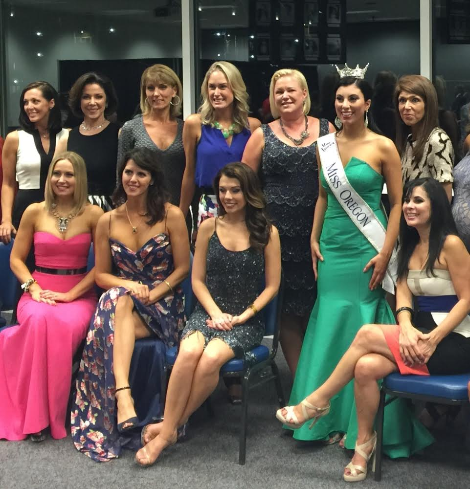 "Newly crowned Miss Oregon 2015, Ali Wallace, with her ""Forever Miss Oregon"" sisters.  Ali and her mom, Miss Oregon 1987 - Tammy Fazzolari Wallace, (seated to Ali's left) became the second daughter/mother duo crowned in Oregon state history."