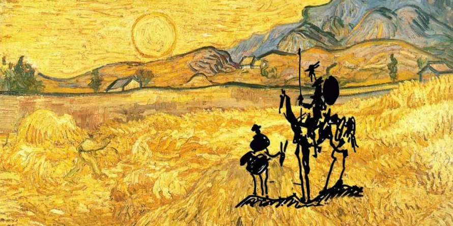 "Collage 'Wheat  Field with Reaper'   1889 ,  Van Gogh and  ""Don Quixote  "" 1955, Picasso   Resource: http://blocs.xtec.cat/dqvisual/"