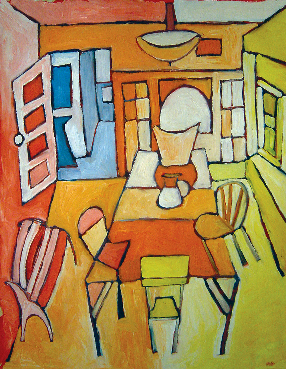 Dining Room on Farwell<br> <br>oil on paper