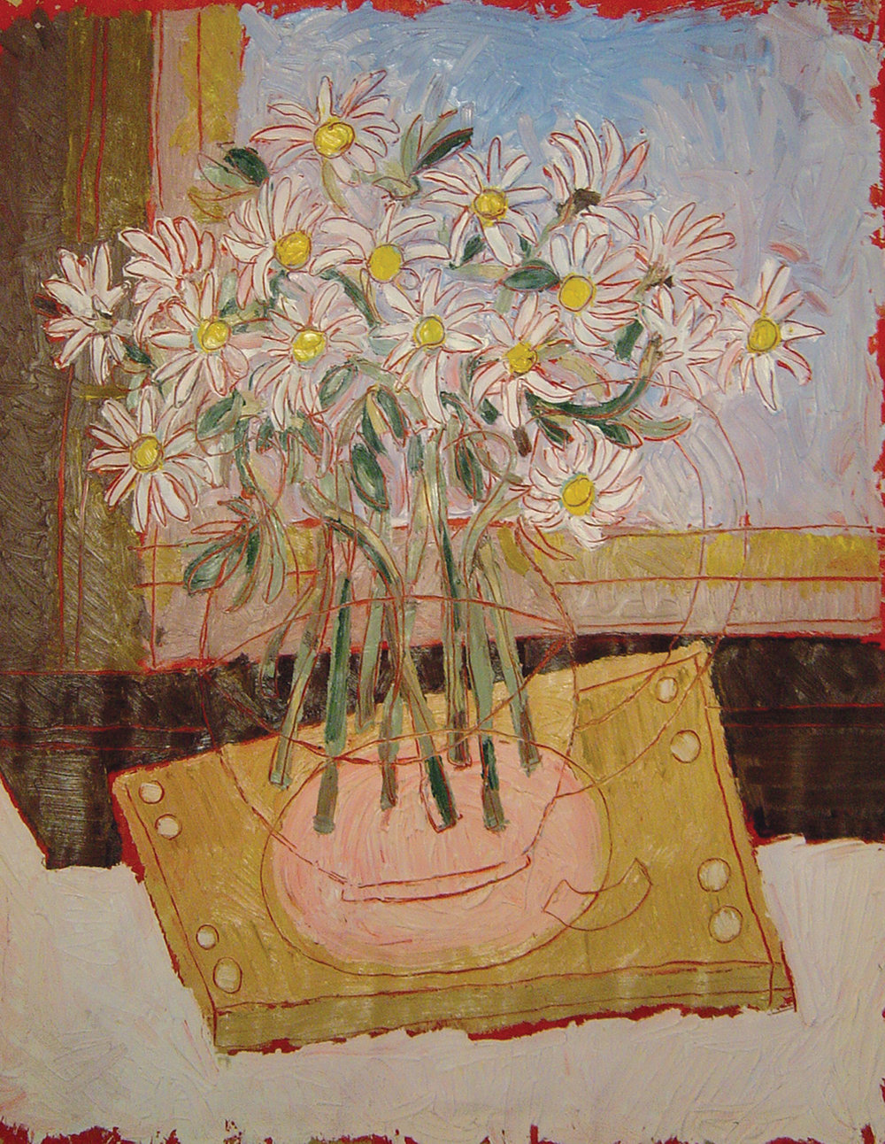 Daisies in a Jug<br> <br>oil on paper