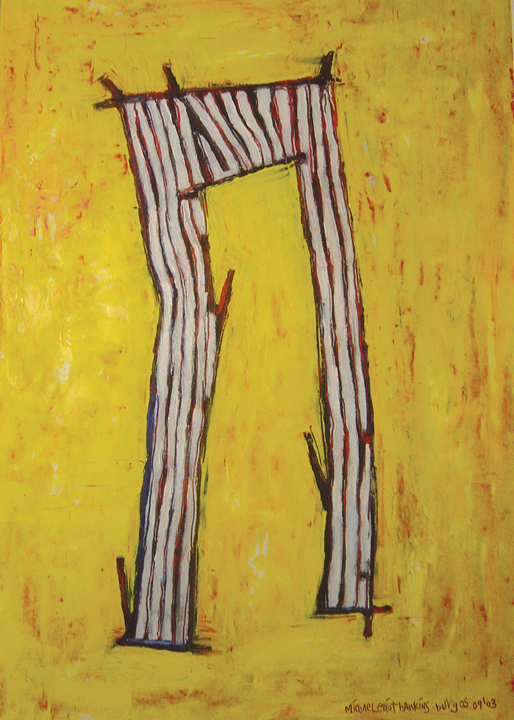 Pants with Stripes<br> <br>oil on paper<br>SOLD