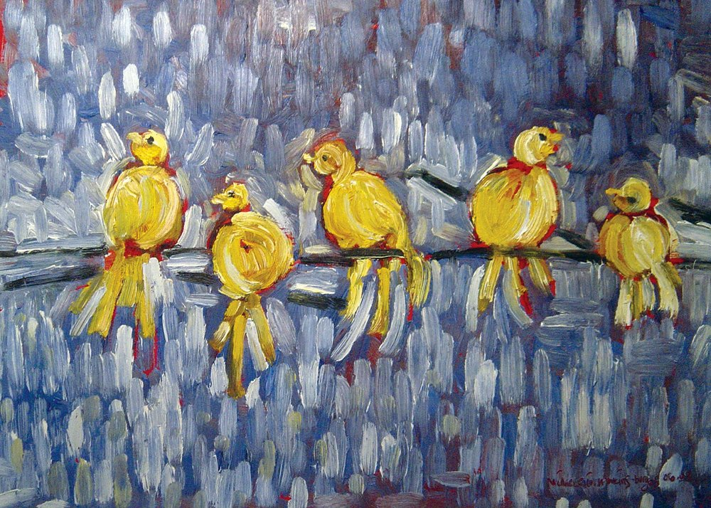 Birds on a Wire<br> <br>oil on paper