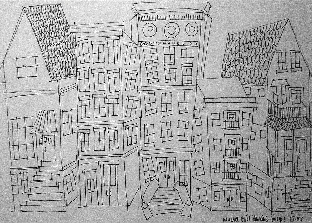 Five Homes<br>ink on paper<br>SOLD