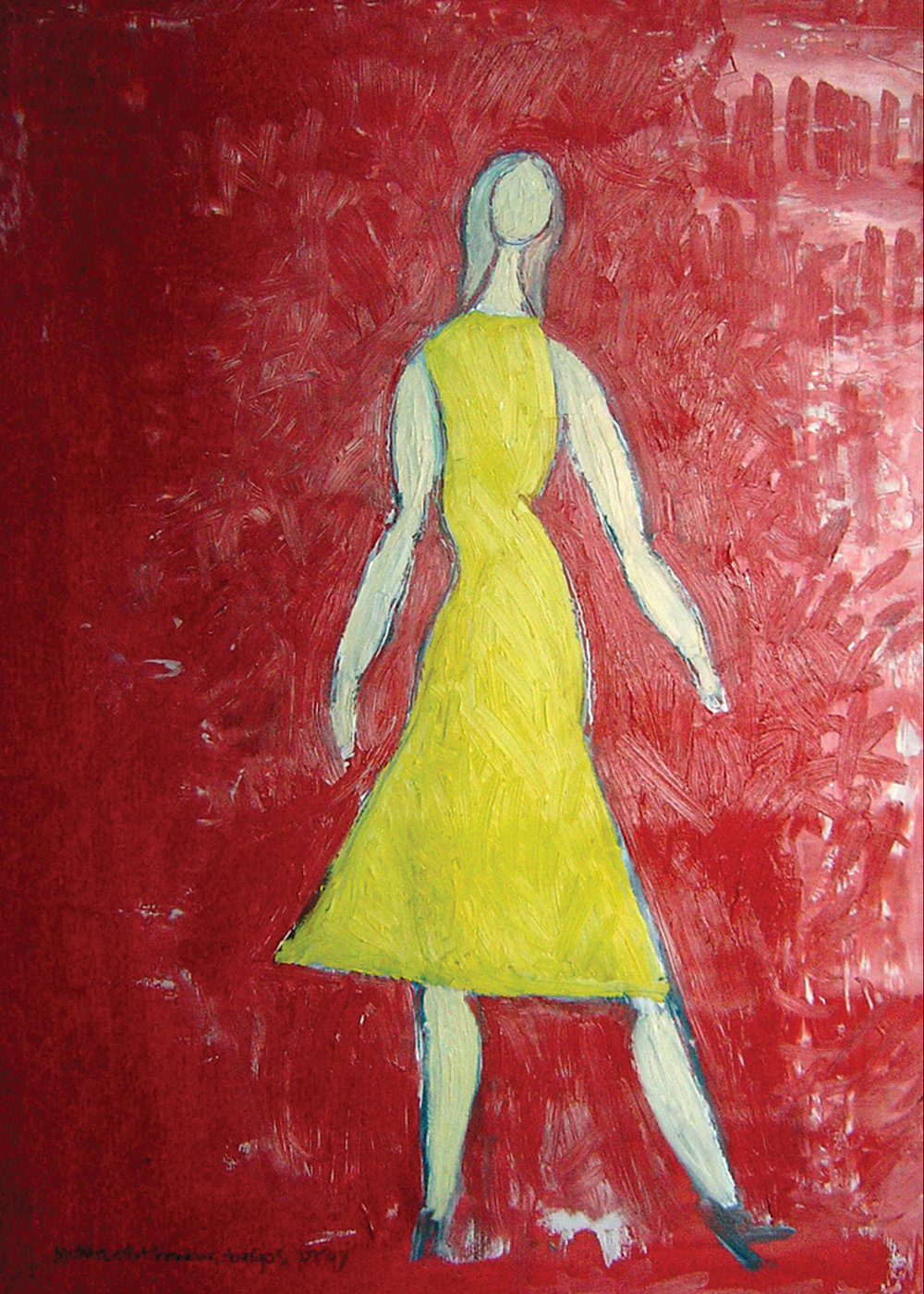Yellow Dress<br> <br>oil on paper