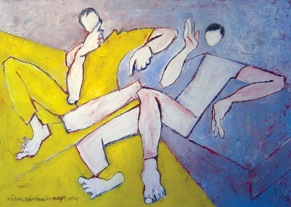 Copy of Smokers<br> <br>oil on paper<br>SOLD