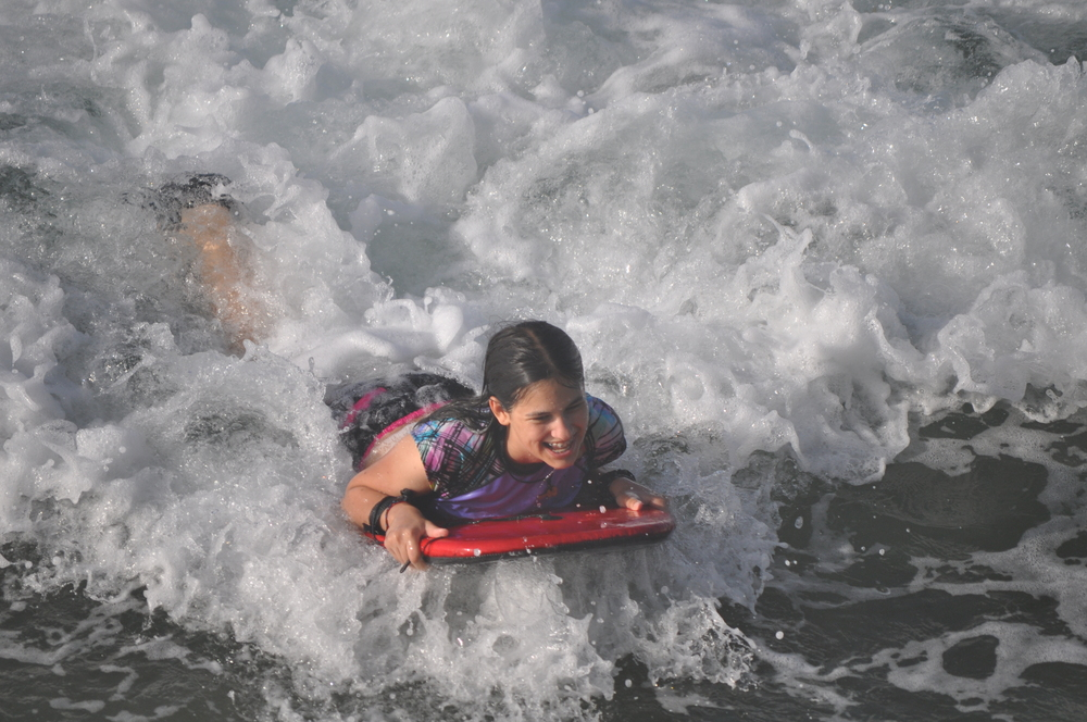 The beach across from our house is perfect for bodyboarding. Photo: Pamy Rojas