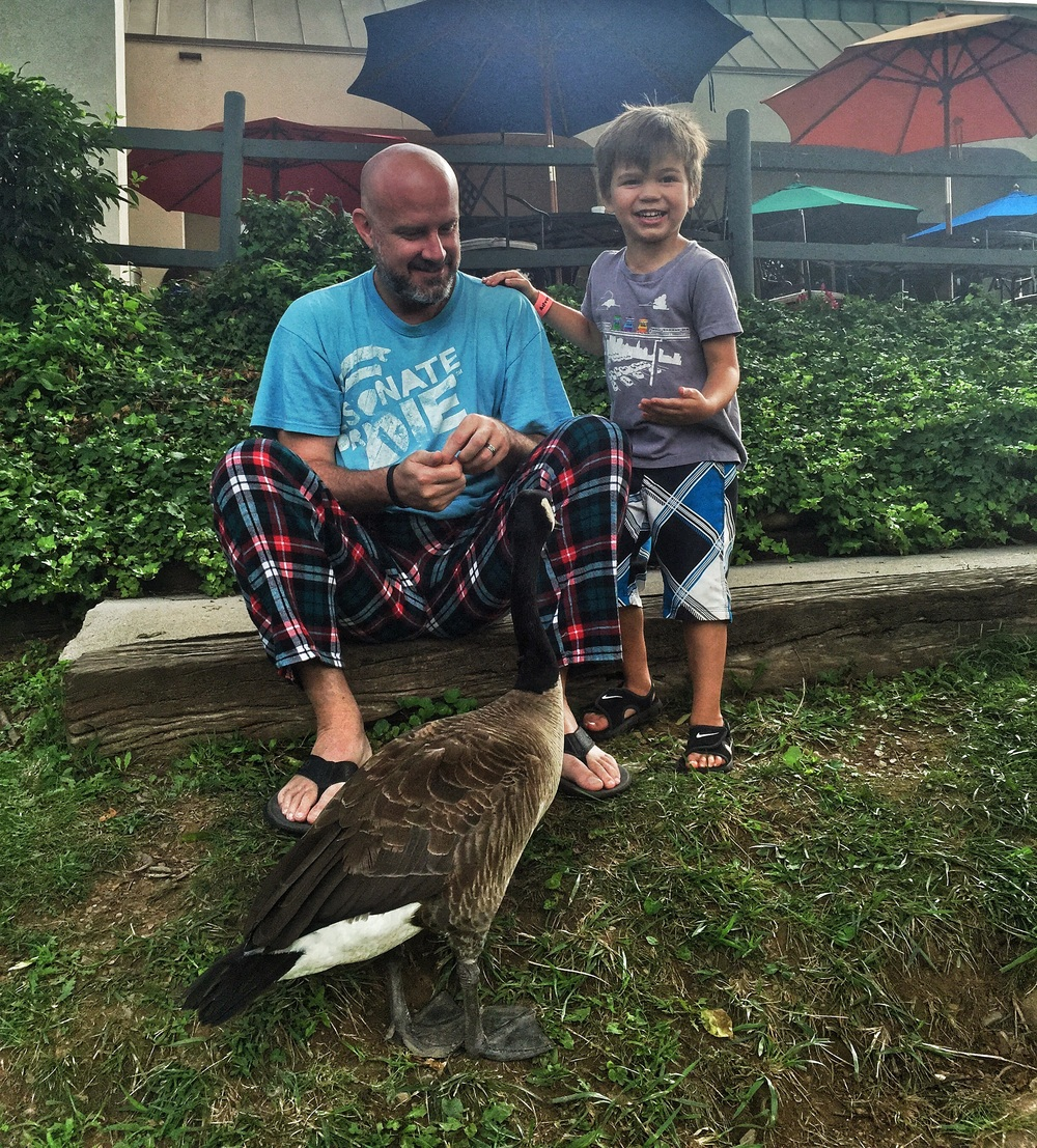 In our jammies after breakfast but the geese didn't mind.