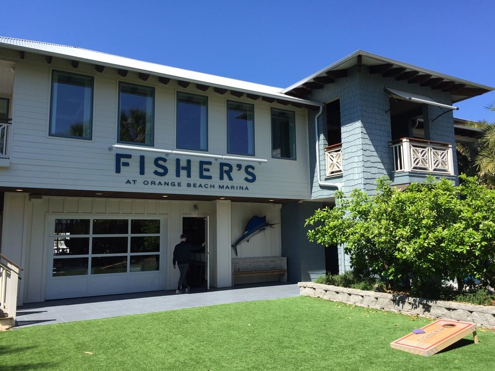Grassy courtyard for waiting and playing, Fisher's Orange Beach