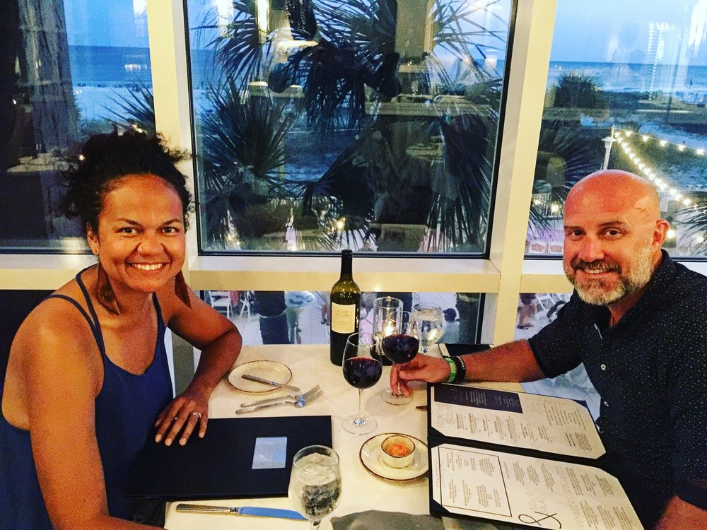 Those Crazy Nelsons enjoying a beautiful beachfront meal at the highly-rated  Voyagers  at the Perdido Key Resort.