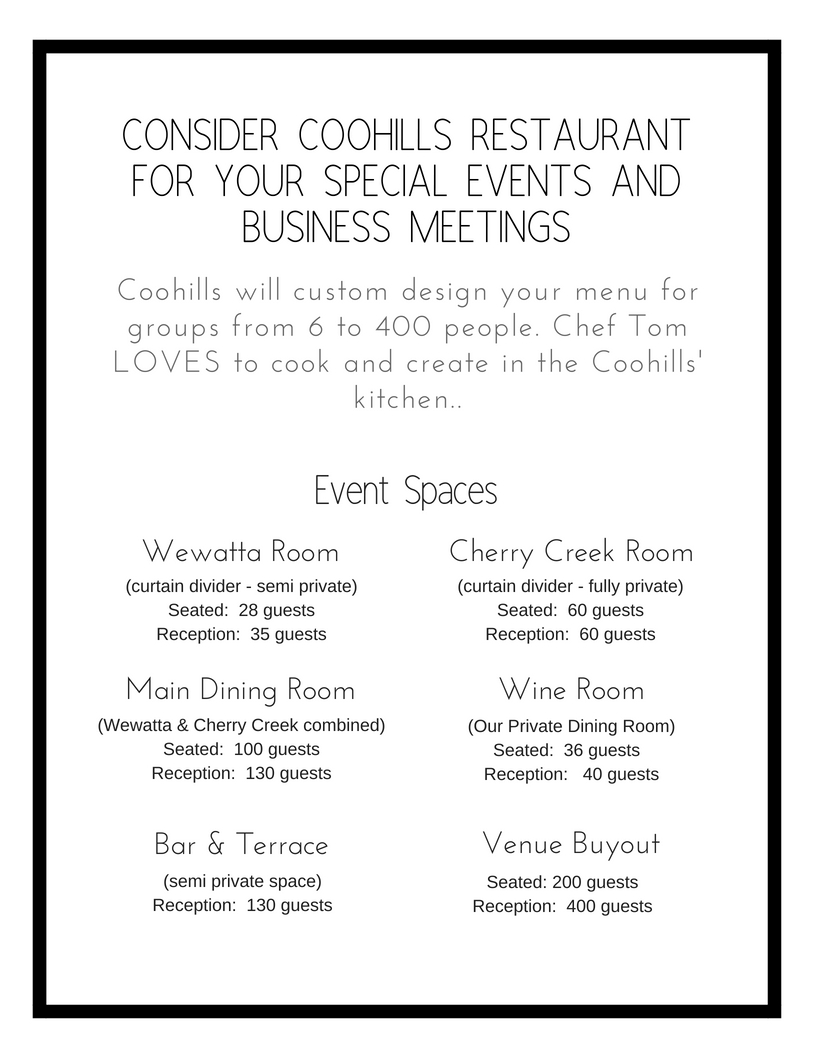 Coohills will custom design your menu for groups from 6 to 400 people. Chef Tom LOVES to cook and create in the Coohills' kitchen...jpg