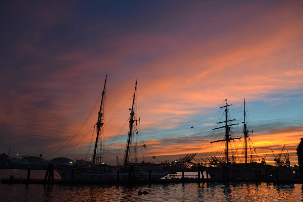 San Pedro Seaport Village Tall Ships at Dawn