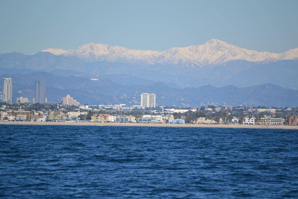 Hollywood view from offshore, Santa Monica