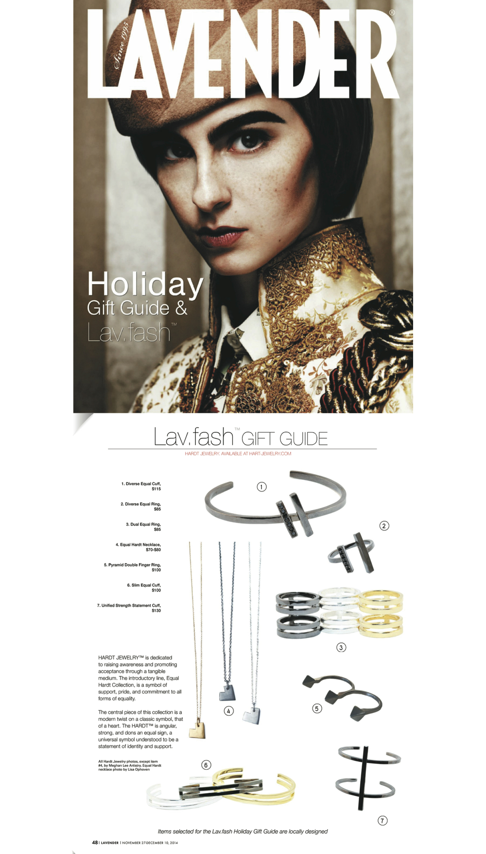 Lavender Magazine - Hardt Jewely - Nov. 2014
