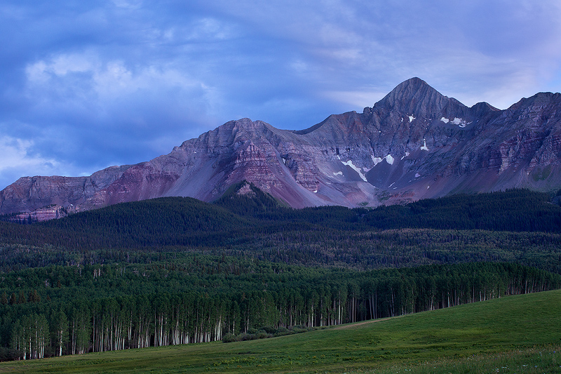 The 14,017 Wilson Peak seen from Silver Pick Basin near Telluride, Colorado