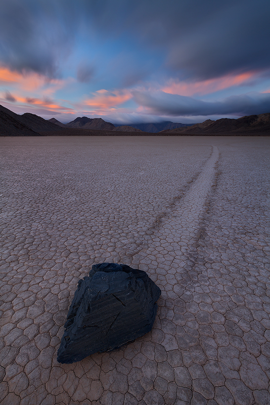 Stormy sunrise at the Racetrack in Death Valley National Park