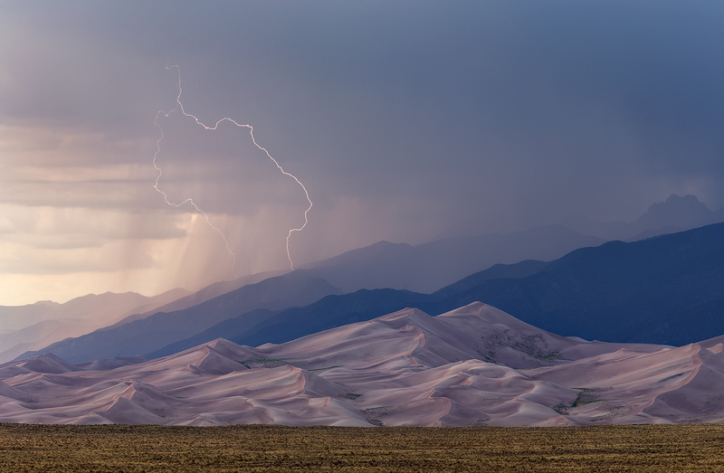 Lightning over Colorado's Great Sand Dunes