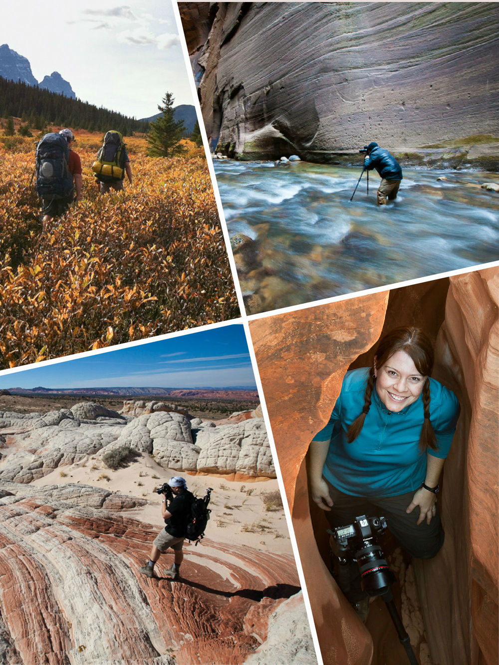 Backpacking to the Tonquin Valley in Jasper National Park, Ron photographing in the Zion Narrows, exploring the Vermillion Cliffs National Monument, and photographing a slot canyon in Utah