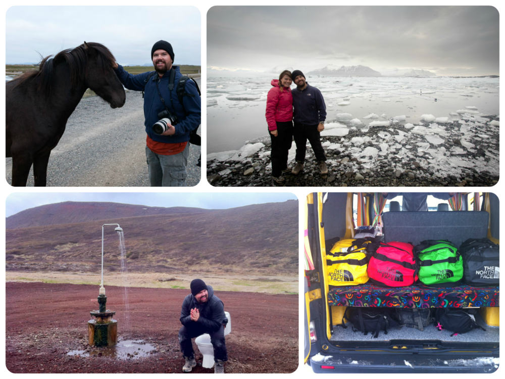 Iceland! Ron and a charming Icelandic horse, at the Jökulsárlón glacial lagoon, A random outside toilet (complete with a geothermal shower), and way too many North Face bags