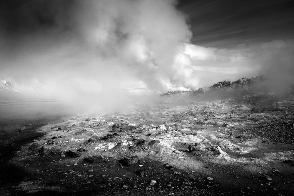 A steamy geothermal area in northern Iceland
