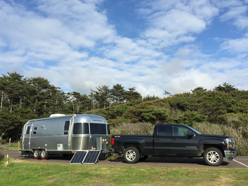 Zamp 200 Watt Portable Panel catching some sun at Tillicum Beach Campground near Yachats, OR