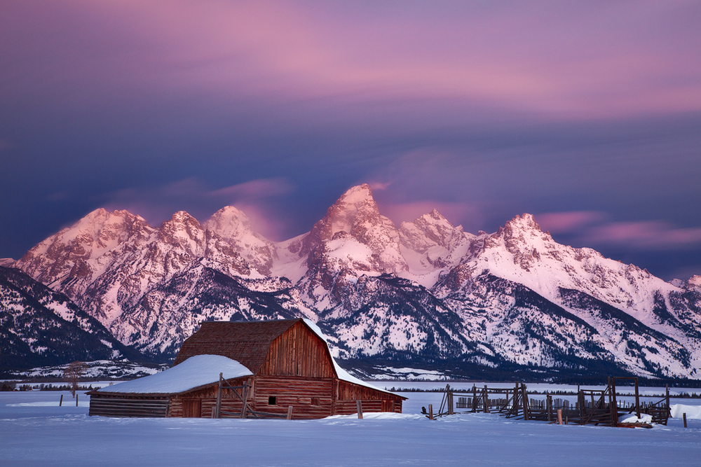 Winter in the Tetons again, this time at the famous Moulton Barn (Photo Copyright Ron Coscorrosa)