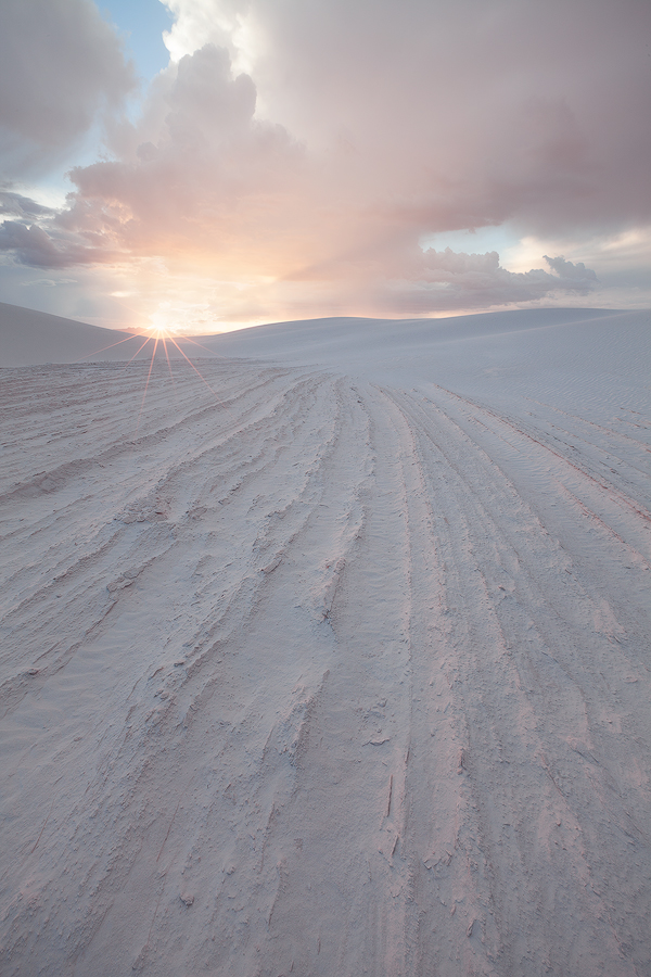 White Sands National Monument. Footprints will remain in these areas of hardened sand (so I didn't walk on them), but will disappear from the dunes themselves during the next wind storm.