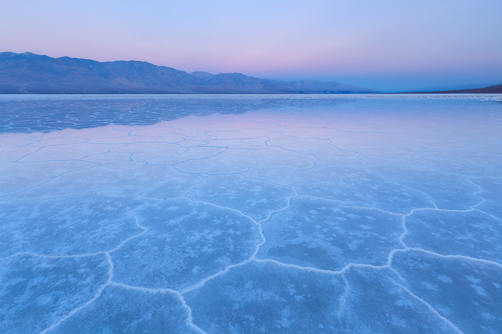 A flooded Badwater Basin in Death Valley National Park
