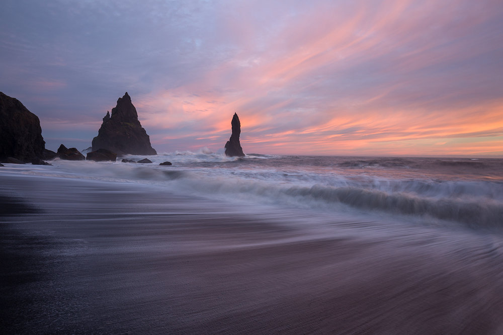 Ocean Motion. A nice sunset on the famous beach in Vik, Iceland