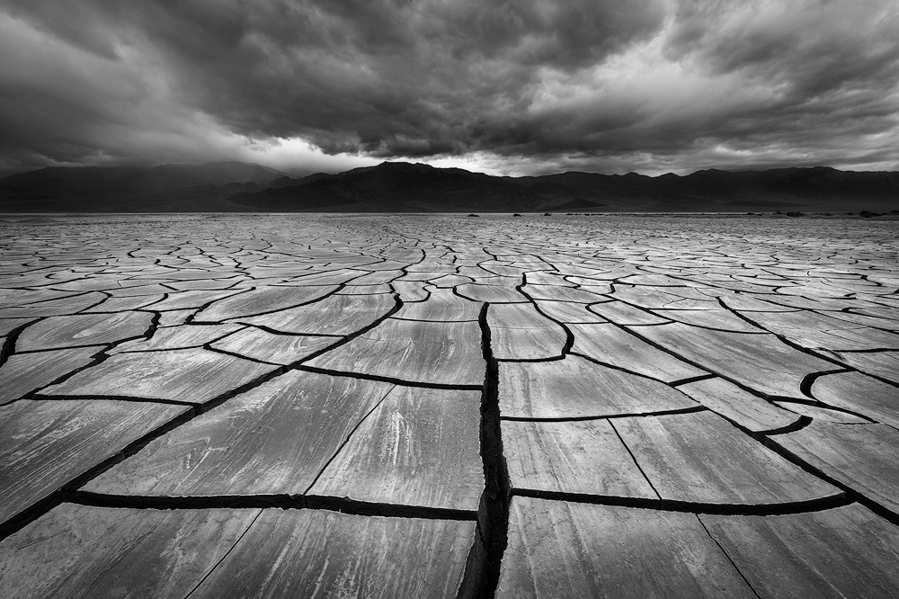 An expanse of mud cracks in Death Valley National Park, California.