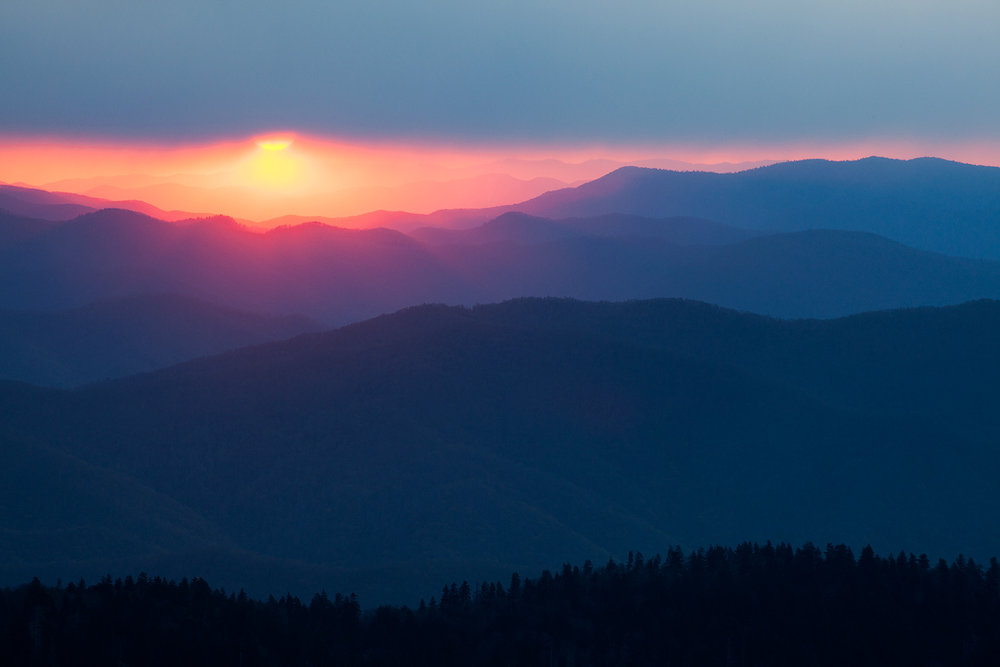 """Smokies Silhouette"" - Silhouettes do not need to be completely black, in this case, each subsequent ridge is slightly brighter leading to the sun in the background."