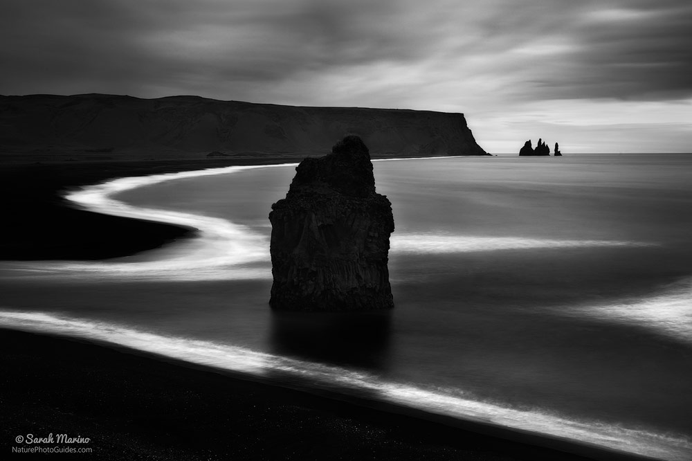 Vik Beach, Iceland:  This photo shows an example of a scene with natural contrast – dark rocks and white waves. A scene like this makes for a straight-forward conversion, which is one reason I recommend seeking out natural contrast as a place to start with black and white photography. Early success is encouraging.