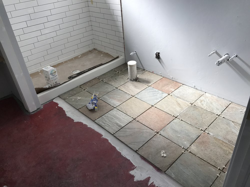 August 16 - Guest bath floor tile